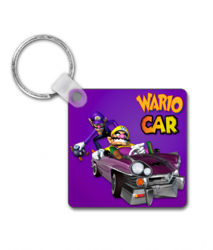Wario Car Square Custom Printed Keyring from Mario Kart